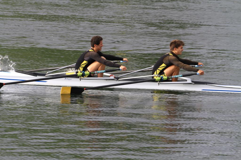Le double junior avec Luc à la nage et Baptiste